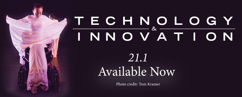 """Technology & Innovation Journal graphic for Volume 1, Issue 1. Image contains a woman wearing pink in an omni directional wheelchair. Text reads """"21.1 Available Now. Photo Credit: Tom Kramer"""" and contains the NAI logo in the bottom right corner."""