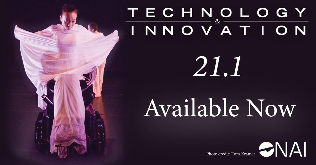 "Technology & Innovation Journal graphic for Volume 1, Issue 1. Image contains a woman wearing pink in an omni directional wheelchair. Text reads ""21.1 Available Now. Photo Credit: Tom Kramer"" and contains the NAI logo in the bottom right corner."
